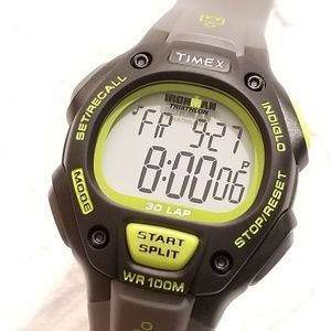 Timex Ironman Indiglo Black Gray Watch Chronograph